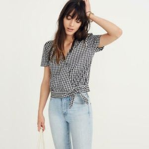 Madewell Cotton Poplin Wrap Top in Gingham